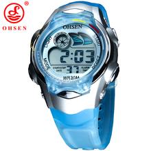 Nueva OHSEN 7 colores de retroiluminación LED de alarma fecha cronómetro azul de la jalea del silicón niños niños niños LCD reloj Digital del deporte