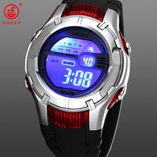 Ohsen Mens deportes masculinos relojes de alarma de día / fecha cronógrafo 7 colores LED Back Light negro Rubber reloj Digital militar reloj
