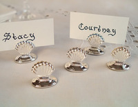 1000pcs/lot Wedding accessory Silver Plated Shell Place Card Holder bachelor party Supplies Bachelorette favors Free Shipping