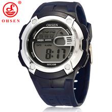 Ohsen marca Mens Boys alarma de día fecha cronógrafo reloj Digital del deporte caucho impermeable reloj 7 colores LED BackLight relojes