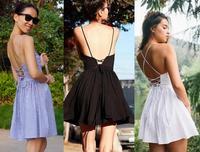2014 Sale Real Vestido De Festa Vestido Europe And The United States American Apparel/aa Retro Sexy Halter Cross Straps Dress