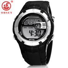 Ohsen Mens Boys Digital relojes deportivos reloj negro 7 colores luz de fondo LED multifuncional reloj militar del Relogio Feminino