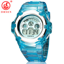 OHSEN Boys Girls Children 7 Colors LED Back Light Digital Multifunctional Military Sports Watches Red Jelly