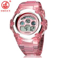 Ohsen marca niños niñas niños 7 colores LED Back Light Digital multifunción deporte militar relojes jalea del reloj del silicón
