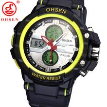 Ohsen marca Mens Boys reloj deportivo militar relojes LED Digital Dual Time Alarm fecha día cronógrafo Backlight reloj Casual