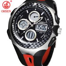 Nueva OHSEN hombre relojes deportivos multifuncionales impermeables 2 zona horaria LED digitales cuarzo militar reloj de pulsera ocasional vestido