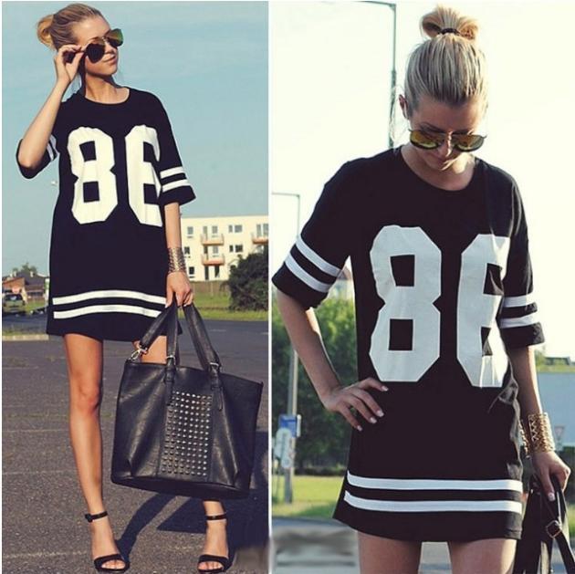 2014 New Summer Women Celebrity 86 American Baseball Tee Oversized T Shirt Top Short Sleeve Loose Dress, Black,S, M, L, XL Ti57(China (Mainland))