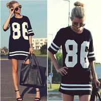 2014 New Summer Women Celebrity 86 American Baseball Tee Oversized T Shirt Top Short Sleeve Loose Dress, Black,S, M, L, XL  Ti57