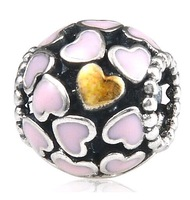 925 Sterling Silver Pink Lots of Love Charm Bead with Pink Enamel Fit European Jewelry Bracelets Necklaces & Pendants