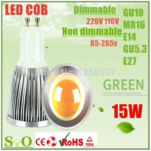 5X GU10 Led COB LAMP 9W 12W 15W bulbs light 120angle dimmable E27 GU5.3 MR16 E14 led spotlights warm/pure/cool white 85-265V 12V(China (Mainland))