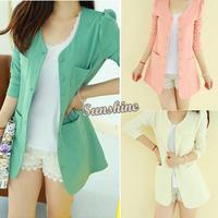 Promotion women cardigan slim blazer long-sleeve long johns outerwear Suit female solid color Dust Wind coat B16 7623