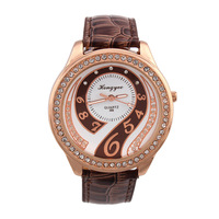 New Arrival Fashion Casual PU Quartz Watches Luxury Rhinestones Dial Hottest Ladies Wristwatches