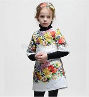 Retail! 2014 new brand design European autumn winter children clothing girls dress flowers fashion princess high quality 2-12T