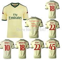 2014/2015 AC Milan away yellow soccer Jersey,14/15 BALOTELLI  HONDA EL SHAARAWY MONTOLIVO football shirt,free shipping