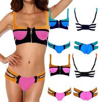 2014 Brand Design Bandage Bra  Bikini Set Patchwork Zipper Bikini Women Strap Swimwear Padded Underwire Push Up Bathing Suit