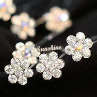 20PCS Wholesale Wedding Bridal Clear Crystal Flower Diamante Hairpins Clips Bridesmaid #6 SV005575