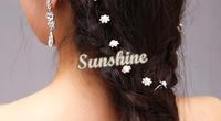Women Fashion Crystal Diamante Pearl Flower U Shaped Hairpins Clip Bride Hair Accessories #6 SV005576