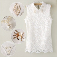 2014 new summer women blouses Embroidery Lace shirt T-shirts collar Handmade beaded Diamond Beading Vest Shirt  blusas femininas
