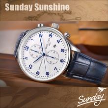 Holuns homens quartzo relógio de pulso de água português de negócios resistente pulseira de couro banda safira luxo cronógrafo(China (Mainland))