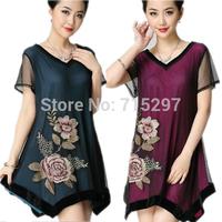 big discount spring summer 2014 big size clothing slim embroidery autumn  one-piece dress short-sleeve XXXL