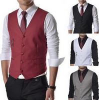 Plus Size New 2014 Fashion Solid Men Slim Suits Vests Men's Wedding Vest Male Waistcoat Brand Jacket Mens Dress Clothing AX196