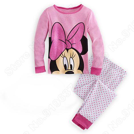 Wholesale Deluxe 2 Pcs Set Kids Sleepwear Suit Top, Leggings Pajamas Minnie Girl cotton long sleeve sets Fit 4-9 Y(China (Mainland))