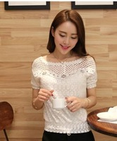 2014 summer blouse roupas femininas clothing short design female chiffon top short sleeve bow lace shirt tops for women