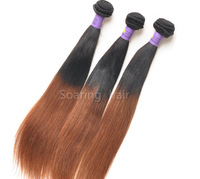 Ombre Two Tone #1b/30  Color Brazilian Virgin Human Hair Weave Silk Sraight From One Young Donor Queen Hair Product Fast Shiping