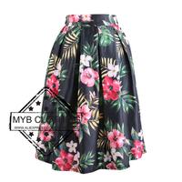 3 Colors New 2014 Autumn Winter Vintage Tropical Flower Print Ball Gown Pleated Midi Skirts Skater Skirt For Women Girl 14701