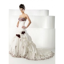 A-line Ball Gown Sweetheart/ Empire Burgundy Rose Wedding Dresses9Red,Black and White) Bridal Gown(China (Mainland))