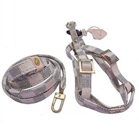 designer dog pets harness+leash set with fancy box check print puppy pets leather chest strap lead white