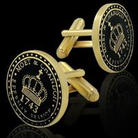 MOET & CHANDON 1743 CROWN EMBLEM MOTIF DESIGN BLACK ENAMEL GOLD PLATED CUFFLINKS