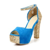 MEMOO 2014 Summer Women Fashion Sandals Square High Heels With Glitter Peep toe Waterproof platform US Size 4-12 A2568