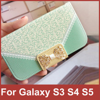Luxury Wallet Card Holder Strap Lace Bow Synthetic Leather Filp Case Cover For Samsung Galaxy S5 i9600 S4 i9500 S3 i9300