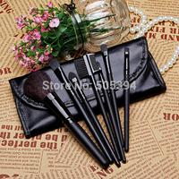 Low-cost sales makeup tools 7pcs Both portable makeup brush set, Soft hair brand BLACK makeup brushes professiona