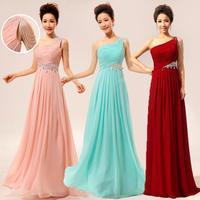 2014 new arrival one shoulder oblique long formal dress banquet bridal evening dress