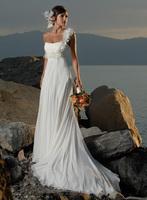 2014 small train wedding dress high waist maternity lace up one shoulder wedding dress formal dress