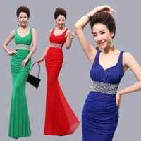 2014 double-shoulder V-neck slim sexy fish tail design long evening dress formal dress banquet evening dress
