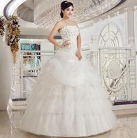 Free shipping Love 2014 diamond flower tube top wedding dress bandage princess fluffy wedding dress