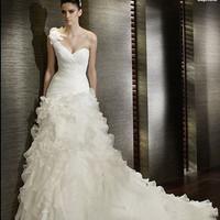 2014 new Oblique short trailing elegant bandage dress bride wedding dress outdoor small tail wedding gown bridal