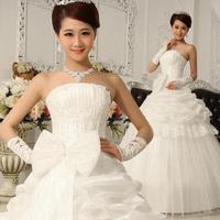 2014 bride wedding gown tube top type big bow elegant sweet princess wedding dress