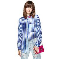 Women Blouses Rhinestone Beads Blue and White Striped Long Sleeve Shirt Single Pocket Plus Chiffon Cardigan Ladies Tops