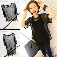 Top Selling 2014 New Fashion Women Summer Tops Woman Loose Sheer Short Sleeve Long Short Style Tops T-Shirts Free Shipping 16617