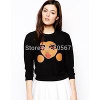 2014 New Cartoon Face Cotton Long Sleeve Sweatshirts Women Sweatshirt Autumn High Quality Factory Dropshipping
