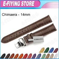 Multi-Color 14mm Genuine Leather Croco Grain Watch Band Strap Ladies Watchband for Longines / Rolex / Movado W/ Steel Clasp