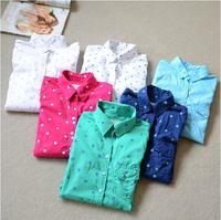2014NEW ARRIVAL Seagull fresh polka dot polka dot women shirt 5 color shirts S/M/L available