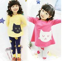 2014 new girl's spring autumn suit children fashion tights leggings long-sleeved shirt original printing cat E164
