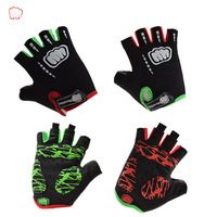 Outdoor Sports Riding Bike Bicycle Cycling Gloves Half-finger Silica Gel Shock Pad Gloves, Red/Green L/XL size