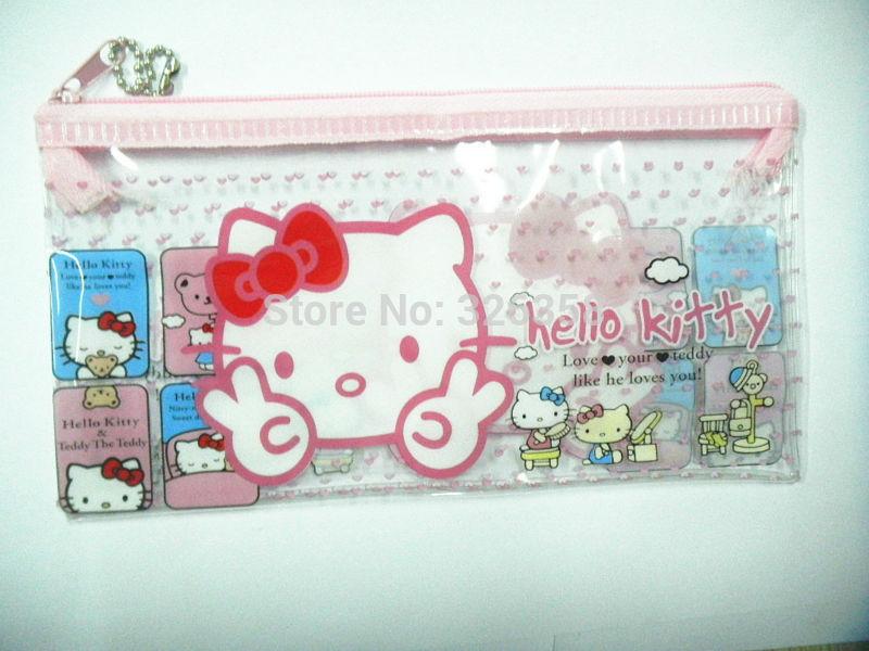 Free shipping 12pcs/lot PVC cute Hello Kitty Pencil bag/ baby girls pen case/Children stationery School Supplies(China (Mainland))