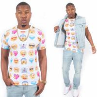 Harajuku New 2014 Women/Men Clothing Funny Cartoon Emoji Print 3D T Shirt Punk Camisetas O-neck Short Sleeve Tee Shirts Crop Top